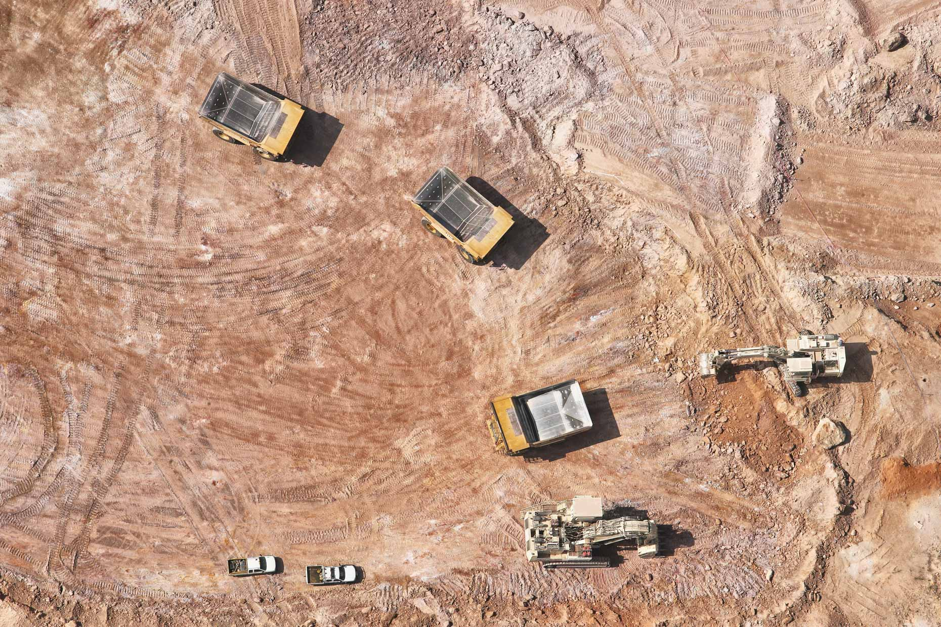 Aerial view of large mining equipment in Laos